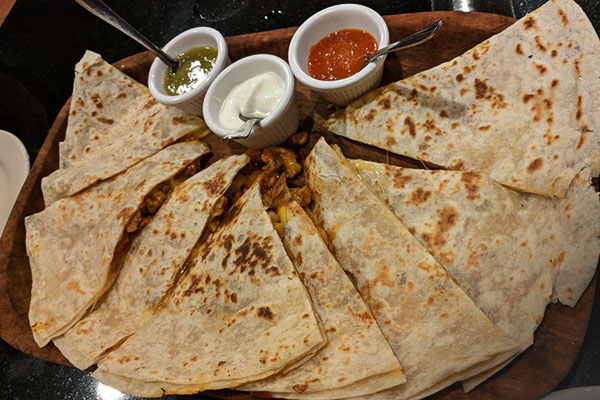 image of large quesadilla platter from Amelia's